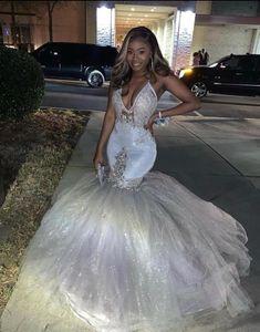 Silver Sheer Halter V-neck Beaded Trumpet Prom Dress Stunning Prom Dresses, Sparkly Prom Dresses, Prom Girl Dresses, Prom Outfits, Tulle Prom Dress, Mermaid Prom Dresses, Flower Girl Dresses, Wedding Dresses, Prom Dress Shopping