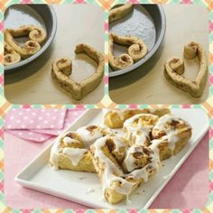 ♥♥♥♥♥♥ Surprise your sweethearts On Valentine's Day morning with these heart-shaped Cinnamon Rolls. Pop out Pillsbury rolls and reshape ♥♥♥♥♥♥ Yummy Treats, Sweet Treats, Yummy Food, Yummy Recipes, Tasty, Pillsbury Cinnamon Rolls, Pillsbury Rolls, Valentines Breakfast, Kids Valentines