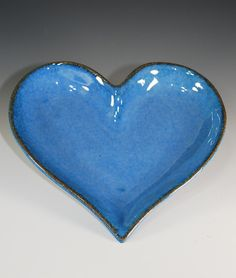 Heart  Plate /  Candy Dish /  Candle Tray in  Sky Blue Glaze / Valentine Heart / Handmade Stoneware Clay