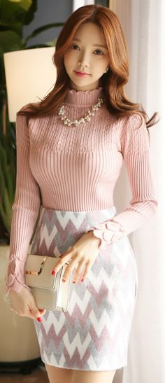 StyleOnme_Color Zig-Zag Print H-Line Skirt #pencilskirt #zigzag #pastel #pink #koreanfashion #seoul #dailylook #feminine #elegant #girly #skirt #kfashion #kstyle #wintertrend