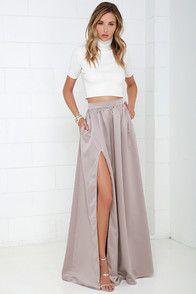 Lovely Navy Blue Maxi Skirt - High-Waisted Skirt - Slit Maxi Skirt - $49.00