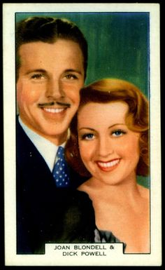 """International Cigarette Co """"Screen Lovers"""" (unissued series of 48, 1930's) #12 Joan Blondell & Dick Powell in """"The Gold Diggers of 1937"""""""