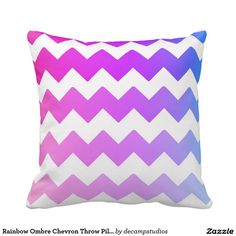 Rainbow Ombre Chevron Throw Pillow