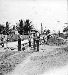 Street railway tracks. 1922. Georgetown, Guyana, South America: Guyana has been a former colony of the Dutch, and for over 200 years of the British. It achieved independence from the United Kingdom on 26 May 1966 and became a Republic on 23 February 1970.