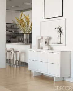 white on white on white...create the illusion of space OR open up space in kitchen areas