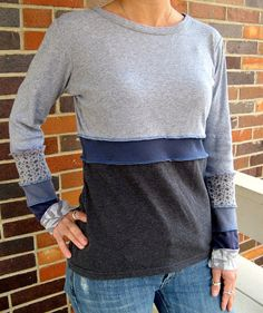 """Turnaround Designs Upcycled Gray Blue Tshirt Top Smallish"" by turnarounddesigns"