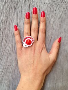Soutache Ring Red White Beaded Sizeable