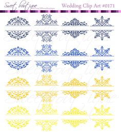 16 Blue Yellow Vintage Calligraphy Clip Art by MSweetboutique, $5.99