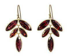 Kothari Elements Gold, Garnet Flora Earrings