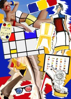 mondrian inspiration P. Fashion Design Inspiration, Geometric Fashion, Abstract Geometric Art, Fashion Collage, Colour Board, Fashion Images, Primary Colors, Complimentary Colors, Op Art