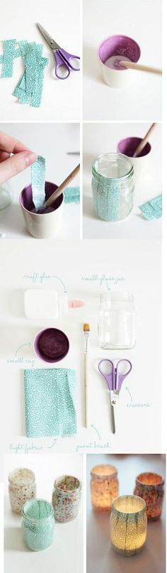 Fabric Mason Jar Candles   @Jessica Sciullo @Mandy Ness