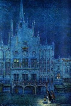 Anton Pieck, Illustrator (1895-1987)  Maanverlicht Nacht