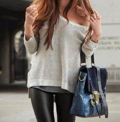 knit sweaters and leather leggings & that bag .....<3 <3 <3