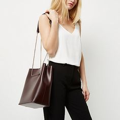 Dark red leather chain bucket bag