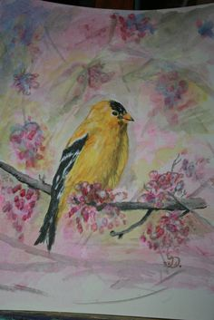 Goldfinch painting by Donnastudio on Etsy, $33.00