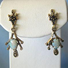 Etruscan Style 14k Garnet Fiery OPAL Dangling Earrings