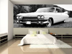 Vintage Car in Black and White Wall Mural