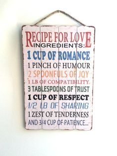 Love Sign Cute Love Recipe Kitchen Decor Wedding by honeywoodhome