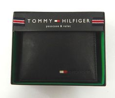 Tommy Hilfiger Black Leather Wallet Passcase Billfold #TommyHilfiger
