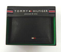 Tommy Hilfiger Black Leather Wallet Passcase Billfold #TommyHilfiger
