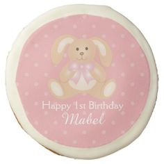 #Cute Pink Ribbon Bunny Rabbit First Birthday Party Sugar Cookie - #Chocolates #Treats #chocolate