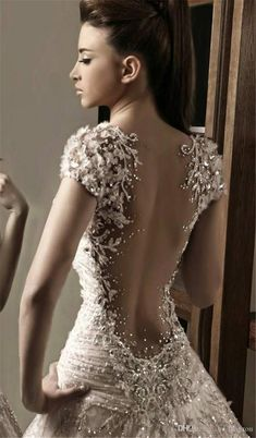 Elegant wedding gown by Rami Salamoun. Wedding Attire, Wedding Gowns, Backless Wedding, Modest Wedding, Bridal Dresses, Prom Dresses, Beautiful Gowns, Pretty Dresses, Wedding Styles