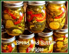 Mama's Bread and Butter Pickles! - 3 quarts of cucumbers, sliced thin (about 4 lbs.)  1/2 cup canning salt   1 cup water  ice  4 cups onions, sliced in thin rings (about 3-4 large onions)  1 large green bell pepper, cut in thin strips  1 large red bell pepper, cut in thin strips -------------------------- 3 cups sugar  3 cups vinegar  2 Tbs. mustard seed  2 tsp. turmeric  2 tsp. celery seed  1 tsp. ground ginger