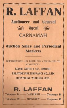 """""""Auction Sales and Periodical Markets. representing in districts Marchagee to Mingenew: Elder Smith & Co Limited, Palatine Fire Insurance Co Ltd, Batyphone Wireless Sets"""" -- R. Laffan, Carnamah and Mingenew Old Shows, Booklet, Schedule, Advertising, Auction, Fire, Marketing, Timeline"""
