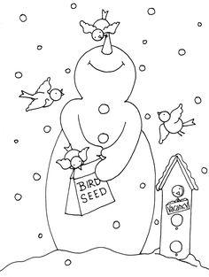 Free Dearie Dolls Digi Stamps... Snowman Bird Feeder