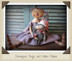 Scarlett and Blue ~ Primitive Raggedy and her Kitty Cat!  http://www.homespunhugsandcalicokisses.com/