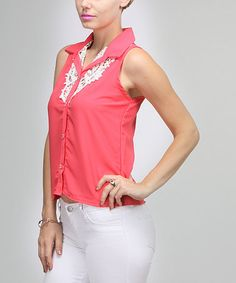 Take a look at this Coral Crocheted Sleeveless Button-Up by BOLD & BEAUTIFUL on #zulily today!