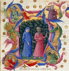 Dante and Virgil - from The Divine Comedy | Priamo della Quercia, Dante Alighieri | Italy (ca. AD 1444-1450). | Detail of an historiated initial 'N' of Dante and Virgil in a dark wood, with four half-length figures representing Justice, Power, Peace and Temperance.