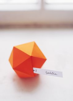 diy faceted place cards from hey look