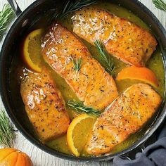 This Orange Rosemary Glazed salmon recipe is EASY and oh-so-delicious! Plus, the skillet helps create those perfectly browned edges that everyone loves. dinner salmon Orange Glazed Salmon Recipe with Rosemary - Cooking Classy Salmon Dishes, Fish Dishes, Seafood Dishes, Seafood Recipes, Dinner Recipes, Cooking Recipes, Healthy Recipes, Salmon Food, Dinner Ideas