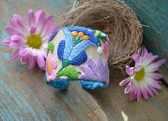 EMBROIDERED CUFF BRACELET  Gypsy Luck by crazyfoxstudio on Etsy