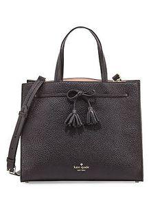 Kate Spade HAYES STREET ISOBEL Bow Tassel Leather Satchel ~Black~ NWT $398