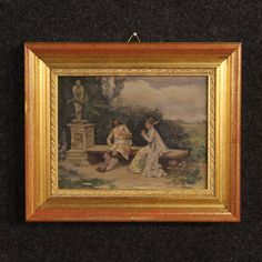 "Price: 750€ Pretty Spanish painting of the late 19th century. Work oil on panel depicting pleasant view with characters of romantic taste. Painting signed lower left ""E. Miralles"". Work of minor extent decorated with an elegant wooden frame carved and gilded of the 20th century. Work to clean in good state of conservation. Painting internal measure: H 16 x L 21 cm  #antiques #antiquariato Visit our website www.parino.it"