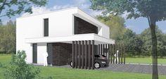 Niko Wauters: energiezuinige moderne minimalistische woning. BEN-woning. Zuidgerichte leefruimten met vide, en een gesloten noordgevel. De luifel boven de dubbele  carport biedt beschutting bij het binnenkomen van de woning.