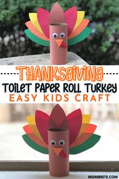 Thanksgiving Toilet Paper Roll Turkey Easy Kids Craft