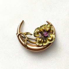 Vintage 9K Gold Figural Spring Branch Brooch with Buds of Blue White and Fuchsia