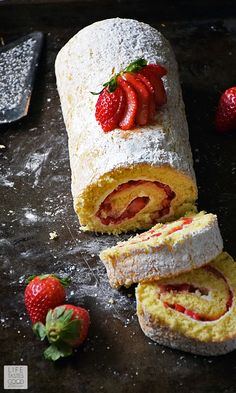 A rich, delicious cake with fresh strawberries all rolled up into a pretty package. Cake Roll Recipes, Dessert Recipes, Roll Up Cake Recipe, Strawberry Jelly Roll Cake Recipe, Food Cakes, Cupcake Cakes, Cupcakes, Swiss Roll Cakes, Coffee Cake