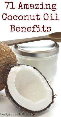 71 Amazing Benefits of Coconut Oil | www.healyourselfDIY.com