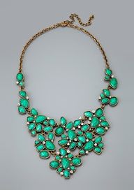 Green Beaded Bib Necklace.