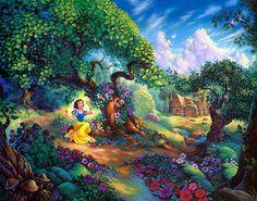 Thomas Kinkade Anime Oil Painting Art Print On Canvas Snow White Thomas Kinkade Disney, Magical Forest, Forest Fairy, Snow Fairy, Cute Disney Wallpaper, Cartoon Wallpaper, Wallpaper Desktop, Hd Desktop, Snow White Wallpaper