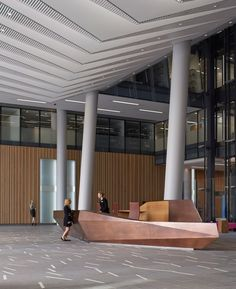 Bronze reception desk by Wilkinson Eyre at 10 Brock Street, at Regents Place, London