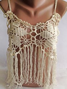Halter summer top/ Bohemia Top/ Crochet lace top/ by ElenaVorobey