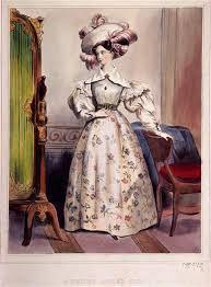 Os cabelos compridos eram penteados repartidos ao meio amarrados na parte de trás com cachos na testa ou na lateral do rosto. Os chapéus eram imensos, de abas largas. Posteriormente, em 1837, os bonnets se tornaram chapéus populares durante o dia e só permitia que o rosto fosse visto de frente. A sombrinha era essencial, porém raramente aberta porque teria de ser imensa para cobrir os enormes chapéus, então eram carregadas nas mãos.