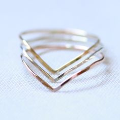 Three Tiny Chevron Threads of Rose Yellow and Silver Stacking Rings - Delicate Jewelry