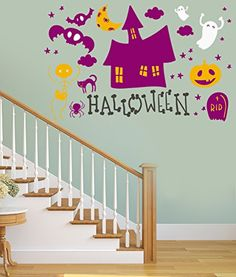 Wall Stickers Murals, Wall Decal Sticker, Halloween Stickers, Easy Wall, Wall Colors, Wall Art, Living Room, Amazon, Holiday