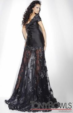Another image of Tony Bowls Collection One Sleeve Pageant Dress with Lace 211C53